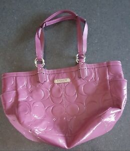 Coach F19462 Purple Gallery Embossed Patent Leather Tote Handbag