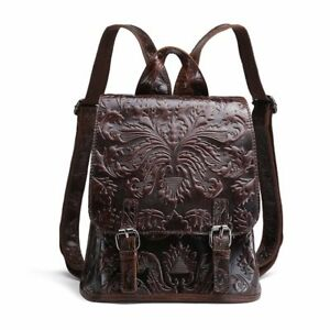 Women Genuine Real Cow Leather Backpack Punk Travel Bag Embossed Handbag Fashion