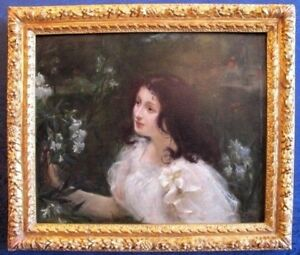 Young Woman in Garden 19th century Amazing   Oil Painting 1899
