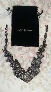 NEW Ann Taylor Bib Statement Necklace Black with Crystals Limited Exclusive