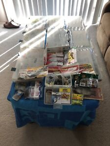 fishing lures lot 9 containers plus ( used )