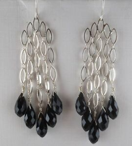 Dangling Silver Plated Faceted Black Glass Bead Earrings $5.99
