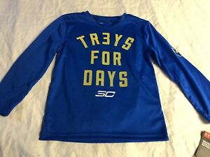 Under Armour TR3YS FOR DAYS Long Sleeve Shirt Boys Size 4 Blue New with tags ^