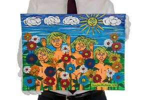 Gracjan Roztocki Cheerful band in flowers Painting Acrylic Stiffened Canvas