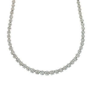Flower design diamond necklace in 14k white gold. 4.00cts in round brilliant...