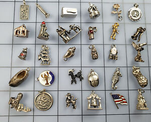 30 Vintage Antique Sterling Silver Charm Lot (2) Fob Pendant 83.5g Not Scrap
