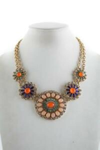J CREW Multi Colored Crystal Rhinestone Jeweled Fan Bib Necklace Statement $128
