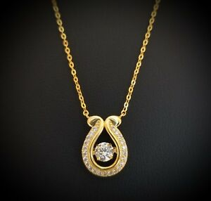14k Yellow Gold Finish Dancing Round Diamond Pendant Necklace