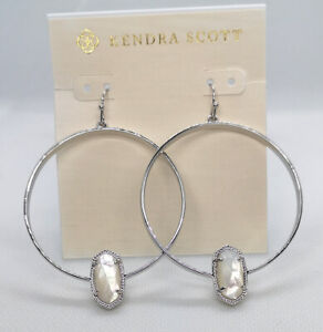 NWT Kendra Scott Elora Hoop Earrings In Ivory Pearl  Silver