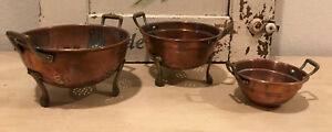 Trio of Vintage French Small Copper Colanders with Brass Claw Feet and Handles