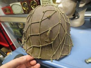 ORIGINAL WWII Japanese Type 90 Army Helmet w Netting (Bullet Hole) ID'D By US