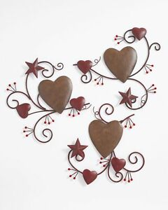 3-Pc. Hearts and Stars Wall Art Decoration with Distressed, Metal Finish Hearts