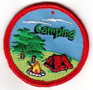 CAMPING Iron On Patch Scouts Boy Girl Cub Camper Vacation Outdoors
