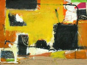 Gustavo Ramos Rivera Acrylic Painting On Paper Autumn Sun Abstract Art 1989