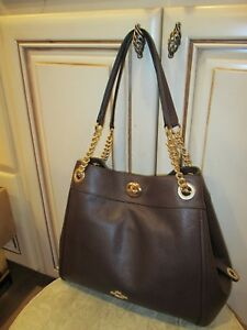 new COACH women's designer BROWN shoulder LEATHER bag