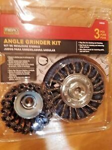 Angle Grinder Kit 4 1/2 In 3Pc , by Mibro, abrasive flap,wire cup, wheel