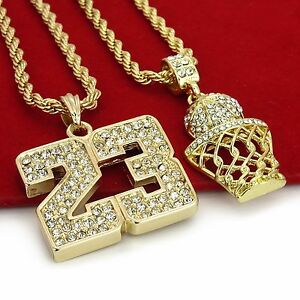 14K Gold Plated Hip Hop Basketball 23 Pendant w 4mm 24 Rope Chain $14.95