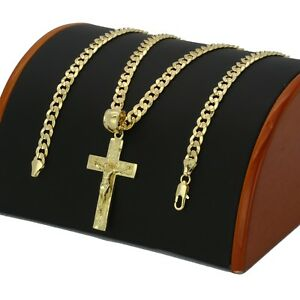 Mens 18k Gold Plated JESUS CROSS Hip-Hop Pendant 6mm Cuban Chain Necklace (S-3)