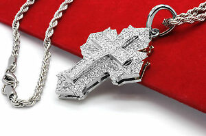 Mens Small Sharp Cross Silver Plated Iced Out Pendant 30
