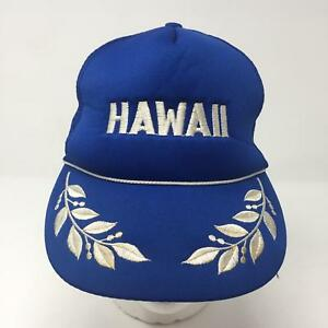 VTG Hawaii Blue Mesh Trucker Snapback Hat Admiral Leaves Tropical Vacation Surf