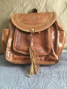 Patricia Nash Jovanna Distressed Leather cognac Brown Backpack Purse