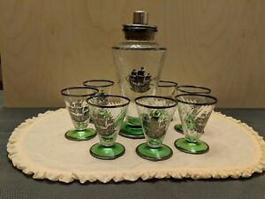 Vintage Swirl Glass Cocktail Shaker plus 7 Matching Glasses with Ship Motif