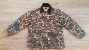 Men's Vtg Thick Cotton CARHARTT Camo Thinsulate Lined Hunting Field Jacket Sz-L