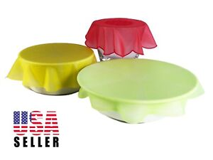 1 or 3 Pack Stretch Reusable Silicone Lids, Bowl Plate Cover Wrap, Food Storage