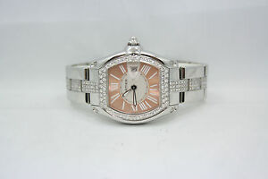 LADIES CARTIER ROADSTER LIMITED EDT STAINLESS DIAMOND ENCRUSTED WATCH W62054V3