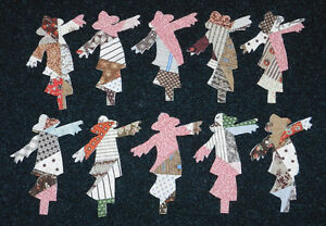 10 PRIMITIVE ANTIQUE CUTTER QUILT SCARECROWS!! FallAutumn Scrapbooking! Appliqu