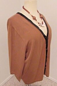 Let Brown Maggie Barnes Cardigan Sweater Fine Knit Sz 4X 433