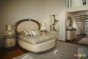 Overture Luxury Glamour 4pc King Bedroom Set in Pearl Ivory w Jewerly Storage