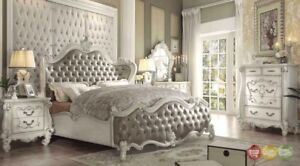 Versailles Classic Vintage Taupe 6pc White California King Bedroom Set wChest