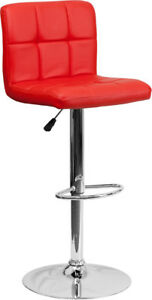 New Contemporary Red Quilted Vinyl Adjustable Height Barstool With Chrome Base