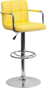 New Contemporary Yellow Quilted Vinyl Adjustable Height Barstool W/ Chrome Base