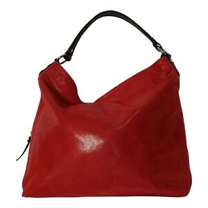 Italian red large soft leather handbag with 9