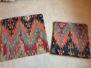Kilim Pillow Covers 16 X 16 and 20 X 20 coral aqua charcoal (2 lot)