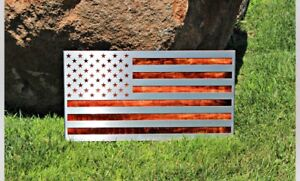Hand Made Stainless And Maple American Flags