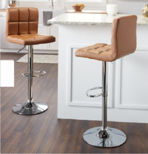 Porch Den Modern Square Leather Adjustable Height Bar Stools Back Set of 2 Brown