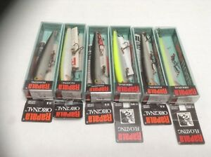 6 Vintage Rapala F-11 Crankbaits New In Box Fishing Lures Tackle Lot.
