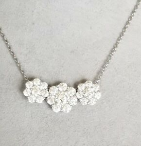 $12750 2.4ct Hearts on Fire 18K White Gold Diamond 3 Station Necklace