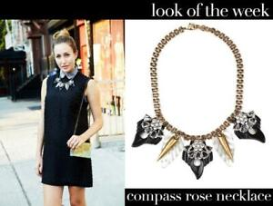 *LULU FROST for J CREW* $228 Compass Rose Necklace Black Statement Fan Feather