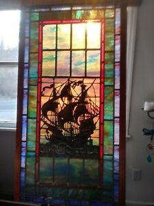ANTIQUE 19th C. American Victorian stained and leaded GLASS WINDOW LARGE
