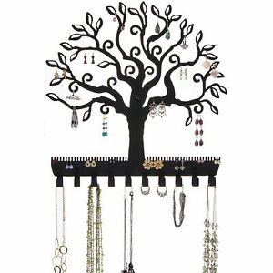 Jewelry Holder Organizer Tree Branch Leaves Wall Earring Rack Necklace Display