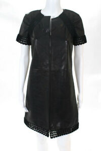 Chanel Womens Little Black Dress Size 34 US 0 Leather Short Sleeve Knee Length
