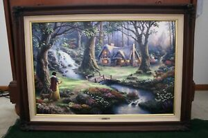Thomas Kinkade Snow White Discovers Cottage RE Dbl Signed  Framed Canvas Disney