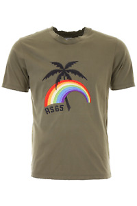 As65 t-shirt with palm embroidery Y18063 Army Green - Authentic