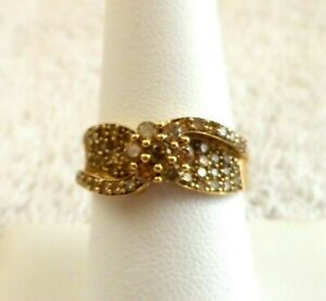 10K SOLID YELLOW GOLD GENUINE CHOCOLATE DIAMOND RING Size 8