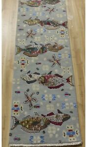 Hand Knotted Gray New Wool & Silk Tropical Fish top quality Rug runner 2'x6'