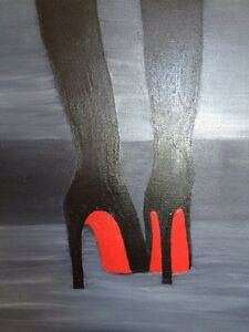 Original oil painting RED SOLE shoes  black & red artwork